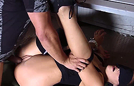 Blindfolded and tied up sexy chick banged hard
