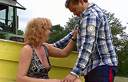 German mature wife enjoys riding a farmers cock outside