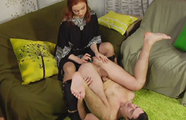 Redhead pegs her husband