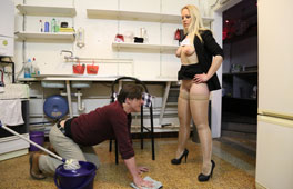 Perv Wife dominates the cleaner