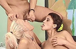 Hot blonde and brunette enjoy a fantastic anal threesome