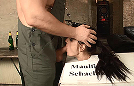 German chick enjoys bondage and oral action