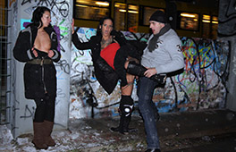 Public German Threesome in the snow