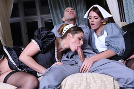 Horny Maids Cathy Heaven And Emma Leigh Get Their Twitching Pussies Slammed By The Chauffeur In This Breathtaking Threesome. That´s One Joy Ride You Won´t Forget.
