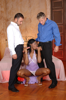 Big Titted Ebony Babe Loves Getting Fucked Hard By Two Horny White Boys.